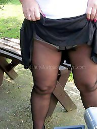 Mature pantyhose, Outdoor