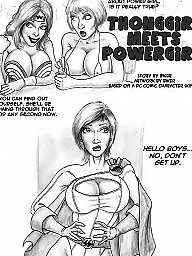 Thong t, Thong girls, Thong, T thong, Powerful girls, Power girl cartoon
