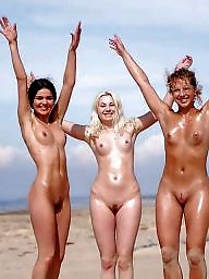 Group, Beach, Nude beach, Nude, Babe