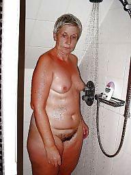 Shower, Granny, Flashing, Naked