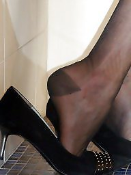 Shoes, Ups, Close up, Shoe, Black stockings, Close