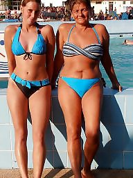Bikini, Mom, Mature bikini, Mom daughter, Daughter
