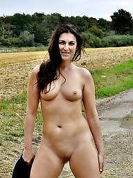 Outdoor, Flashing, Flash, Public, Brunette
