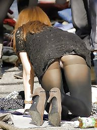 Stockings upskirt, Upskirt stockings, Upskirt, Leggings, Leg