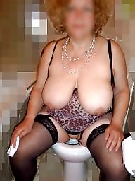 Mature housewife, Breast, Bathroom, Show, Breasts, Big breast