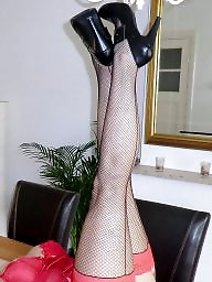 Red,milf, Red stockings, Red stocking, Red in stocking, Red heels, Red fishnet
