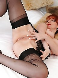 Stocking milf, Black stockings, Redheads, Red, Redhead milf, Red stockings