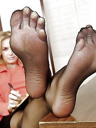 Nylon feet mature granny pantyhose