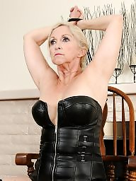 Mature leather, Granny slave, Granny bdsm, Mature slave, Mature femdom, Leather