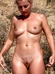 Mature beach, Beach, Nude beach, Nude, Mature boobs
