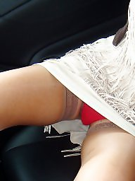 Upskirt, White, Red, Pants