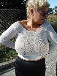 Big boobs, Braless, Big, Voyeur, Amateur boobs