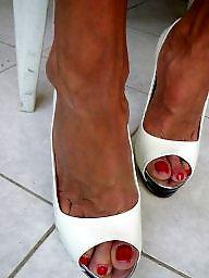 Mature heels, High heels, Mature high heels, White stockings, Heels