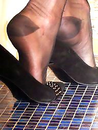 Black stockings, Shoes, Close up, Ups, Shoe