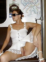 Flashing, Train, Stockings, Upskirt