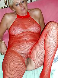Bodystocking, Fishnet, Bodystockings, Mature blonde, Blond mature