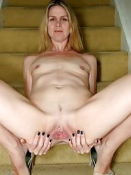 Wide, Milf, Blonde, Smile, Open, Blonde milf
