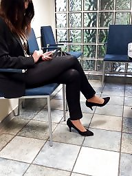 Candid feet, Leggings, Shiny leggings, Candid, Heels, Candid voyeur