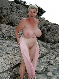 Granny boobs, Mature beach, Granny