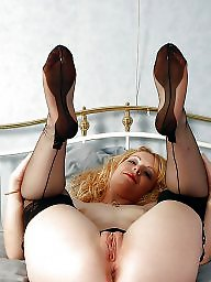 Mature stockings, Wide, Wide open