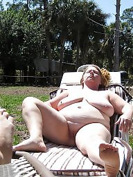 Mature bbw, Garden, Mature boobs