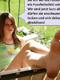 German caption, German captions, Captions, German, Jerking, Nylon feet