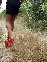 Mature outdoor, Mature heels, Pink, Amateur heels, Heels, Outdoor mature