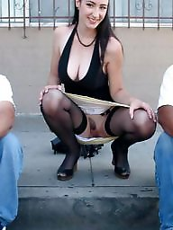Panties, No panties, Upskirt public, Outside, Upskirt panty