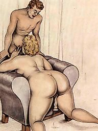 Vintage, Drawing, Draw, Drawings, Bbw blowjob