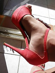 Red,stockings, Red shoes, Red stockings, Red stocking, Red amateur, Red mature
