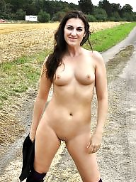 Outdoor, Public, Flashing, Flash, Brunette