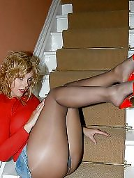 Pantyhose, Pantyhose mature, Mature pantyhose, Mature stockings, Sharon, Stairs