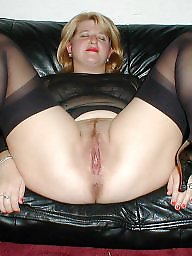 Wide open, Amateur mom, Spreading, Wide, Stocking milf, Open pussy