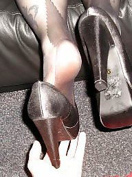 Pantyhose feet, Feet, Amateur heels, Heels, Tight, Black feet