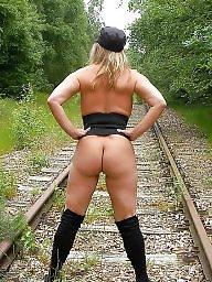 Tracks, Railroad, Public, matures, Public nudity mature, Public matures, Public mature milfs