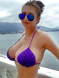 Big boobs amateur, Beach