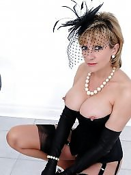 Black stockings, Corset, Black, Tits, Big tit, Big