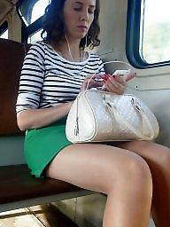 Pantyhose, Stockings, Upskirt, Upskirts, Pantyhose upskirt, Train