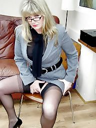 Stockings, Stocking, Office, Milf